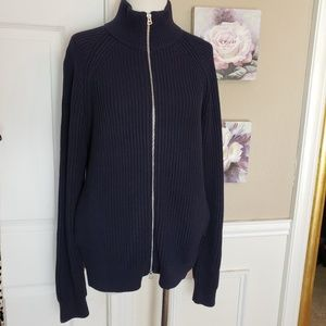 Knit Cotton Funnelneck Zip-Up Sweater Jacket M NWT